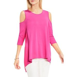 Vince Camuto • pink cold shoulder blouse small